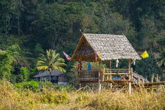 Wood hut in rice field countryside Royalty Free Stock Photo