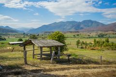 Wood hut in rice field countryside Royalty Free Stock Images