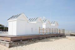Wood hut on sand beach in Arcachon France. Coast Stock Images