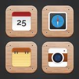 Wood Icon Set Stock Photo