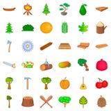 Wood icons set, cartoon style Stock Photo