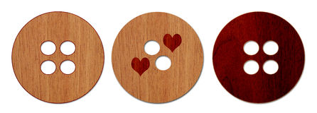 Wood Illustrated Buttons Collection 1. There are three wood buttons, on a white background Royalty Free Stock Photography