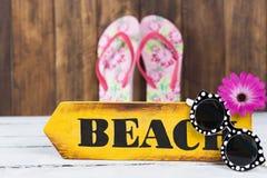 Wood indicator beach Stock Images