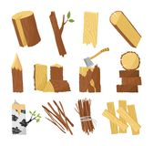 Wood industry raw material and production samples flat set with tree trunk logs planks door vector illustration. Wood industry raw material and production royalty free illustration