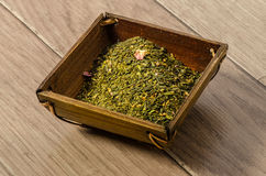 Wood jar with Sencha Stock Image