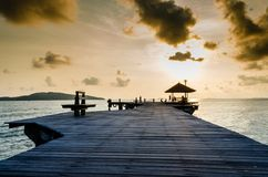 Wood jetty on the Beach stock photography