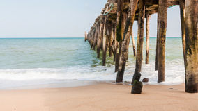 Wood jetty at beach Royalty Free Stock Images