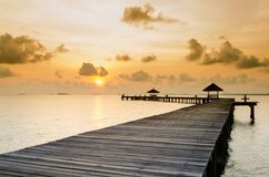 Wood jetty on the Beach. And tropical sea,East of Thailand Stock Photo