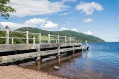 Wood jetty at Loch Ness. Jetty in Urquhart Castle on Loch Ness, Scotland Region Stock Photography