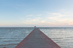 Wood jetty through the seascape Stock Photography