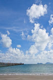 Wood jetty in southern Thai sea, Royalty Free Stock Photography