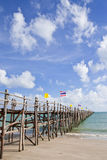 Wood jetty in southern Thai sea, Stock Photos