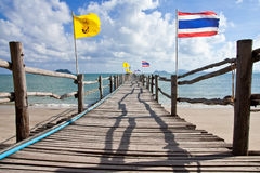 Wood jetty in southern Thai sea, Royalty Free Stock Photo