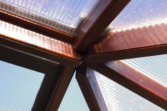 Wood joints conservatory roof Royalty Free Stock Photography