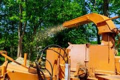 Wood käcka blåsa trädfilialer klipper det käcka a-trädet, eller wood käckt är en bärbar maskin som används för förminskande trä i Fotografering för Bildbyråer