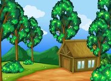 Wood kabin i skogen stock illustrationer