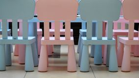 Wood kid chairs abstract colors Royalty Free Stock Photography