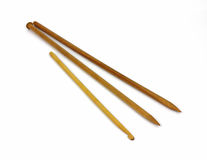 Wood Knitting Needles Crochet Hook Overhead View Royalty Free Stock Image