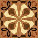 Wood konstinläggtegelplatta, geometrisk prydnad från mörker och ljusträ i antikvarisk stil royaltyfri illustrationer