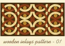 Wood konstinläggtegelplatta, geometrisk prydnad från mörker och ljusträ i antikvarisk stil, trätextur i färg fyra vektor illustrationer