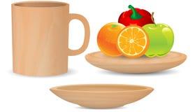 Wood kopp för kaffe, wood maträtt och frukt på den wood magasinvektorn Fotografering för Bildbyråer