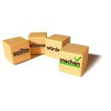 Wood kuber bör, kan, och att göra Royaltyfria Foton