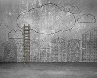 Wood ladder with doodles wall of clouds city buildings Royalty Free Stock Photography