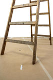 Wood ladder on paperboard Stock Photos