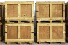 Wood lagringsaskar Fotografering för Bildbyråer