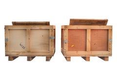 Wood lagringsaskar isolerade vit, främre sikt Arkivfoto