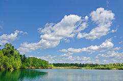 Wood lake. Lake with the turquoise water, surrounded with wood. The blue sky with white clouds royalty free stock photos
