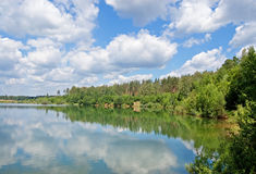 Wood lake. Lake with the pure water, surrounded with wood. The blue sky with white clouds royalty free stock photo