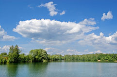 Wood lake. Lake with the pure water, surrounded with wood. The  blue sky with white clouds Royalty Free Stock Photos