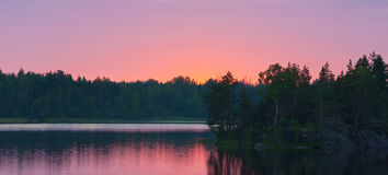 Wood lake after sunset Royalty Free Stock Photography