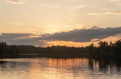 Wood lake at sunset Stock Photography