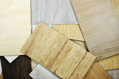 Wood laminate veneer material sample for design management and i. Decoration materials for home and building materials are natural materials. Samples of laminate Royalty Free Stock Photography