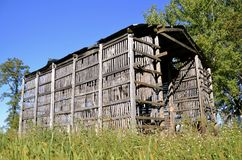 Wood lath corn crib stock photos