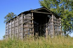 Wood lath old corn crib stock photography