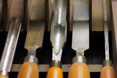 Wood lathe chisel set Royalty Free Stock Photos