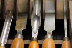 Wood lathe chisel set Royalty Free Stock Photos