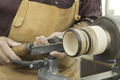 Wood and lathe worker Royalty Free Stock Image