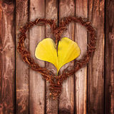 Wood and leaf heart Royalty Free Stock Image
