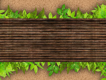 Wood And Leaves Nature background Royalty Free Stock Images