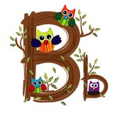 Wood Letter B Owl Vector. On white color background Royalty Free Stock Image