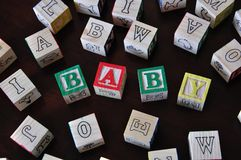 Wood letter blocks baby Royalty Free Stock Photography