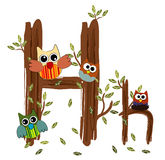 Wood Letter H owl Vector. Nature Royalty Free Stock Image