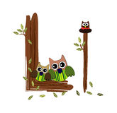Wood Letter L owl Vector. Nature Stock Photography