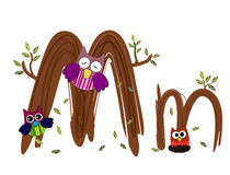 Wood Letter M owl Vector. Nature Royalty Free Stock Image