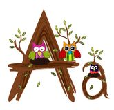Wood Letter A Owl Vector Stock Image