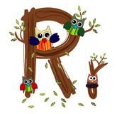 Wood Letter R owl Vector. Nature Stock Image